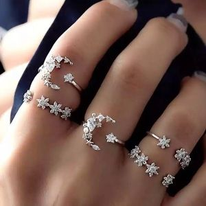 🆕 Star and Sparkle 5 Midi Ring Knuckle Set